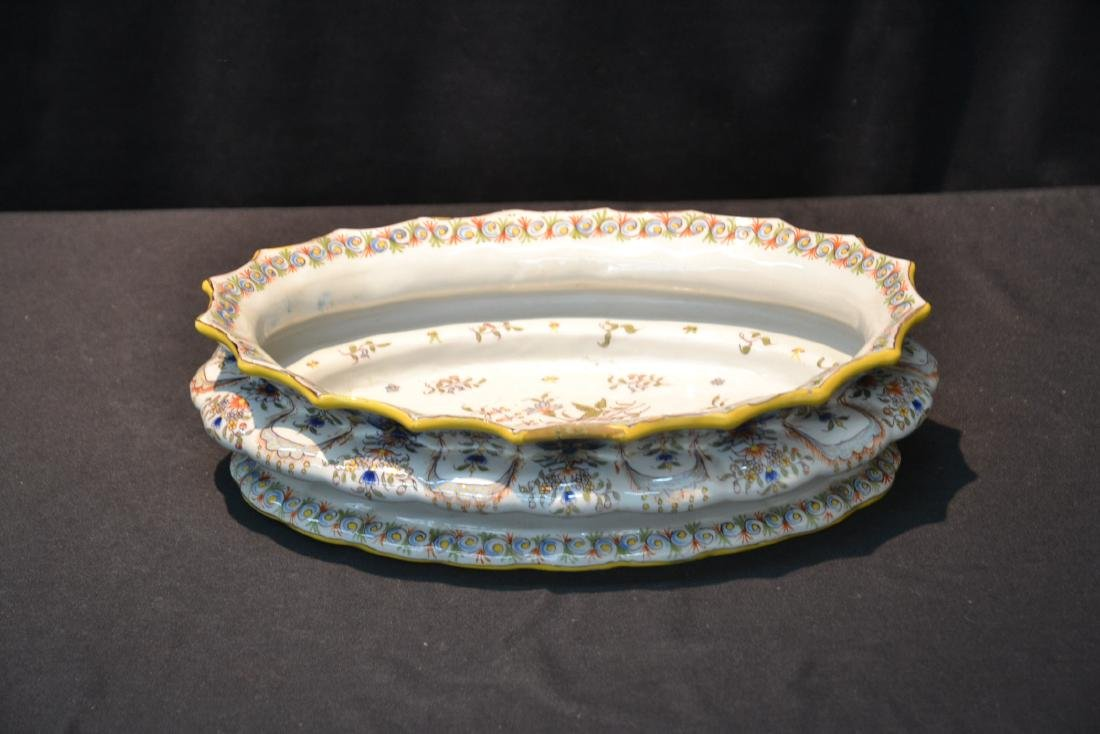 """FRENCH FAIENCE BOWL - 14"""" x 9 1/2"""" x 4"""" - 2"""