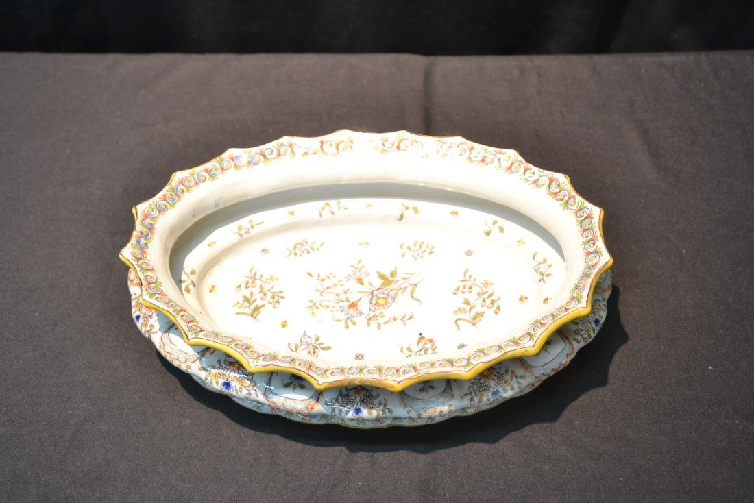 """FRENCH FAIENCE BOWL - 14"""" x 9 1/2"""" x 4"""" - 3"""