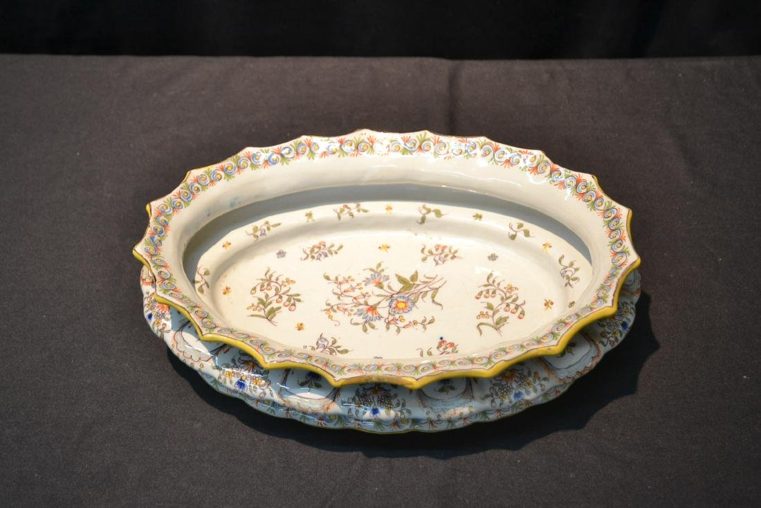 """FRENCH FAIENCE BOWL - 14"""" x 9 1/2"""" x 4"""" - 4"""