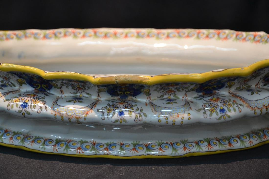 """FRENCH FAIENCE BOWL - 14"""" x 9 1/2"""" x 4"""" - 6"""