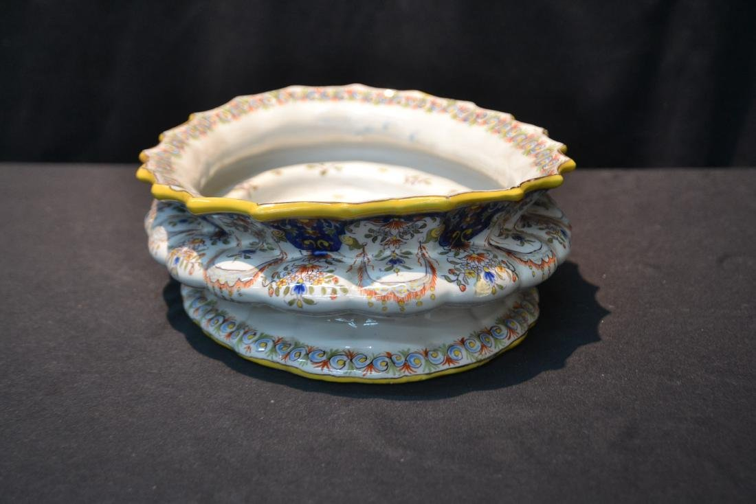 """FRENCH FAIENCE BOWL - 14"""" x 9 1/2"""" x 4"""" - 7"""
