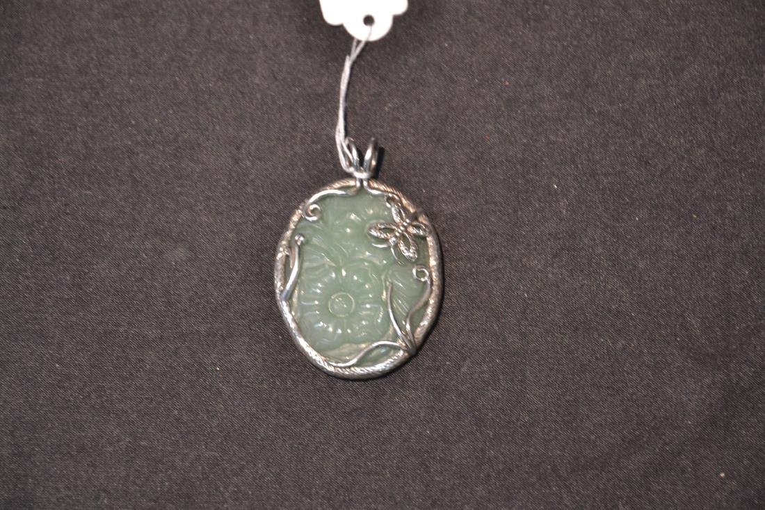 STERLING SILVER & FLORAL JADE PENDANT MOUNTED ON - 2