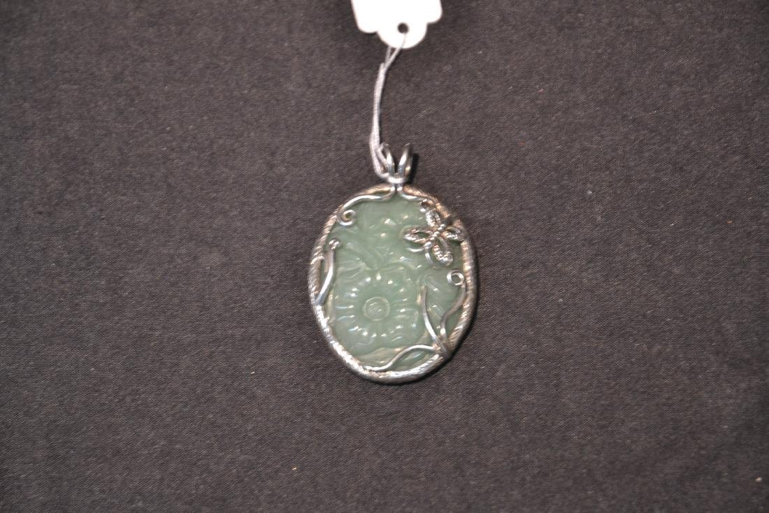 STERLING SILVER & FLORAL JADE PENDANT MOUNTED ON - 3