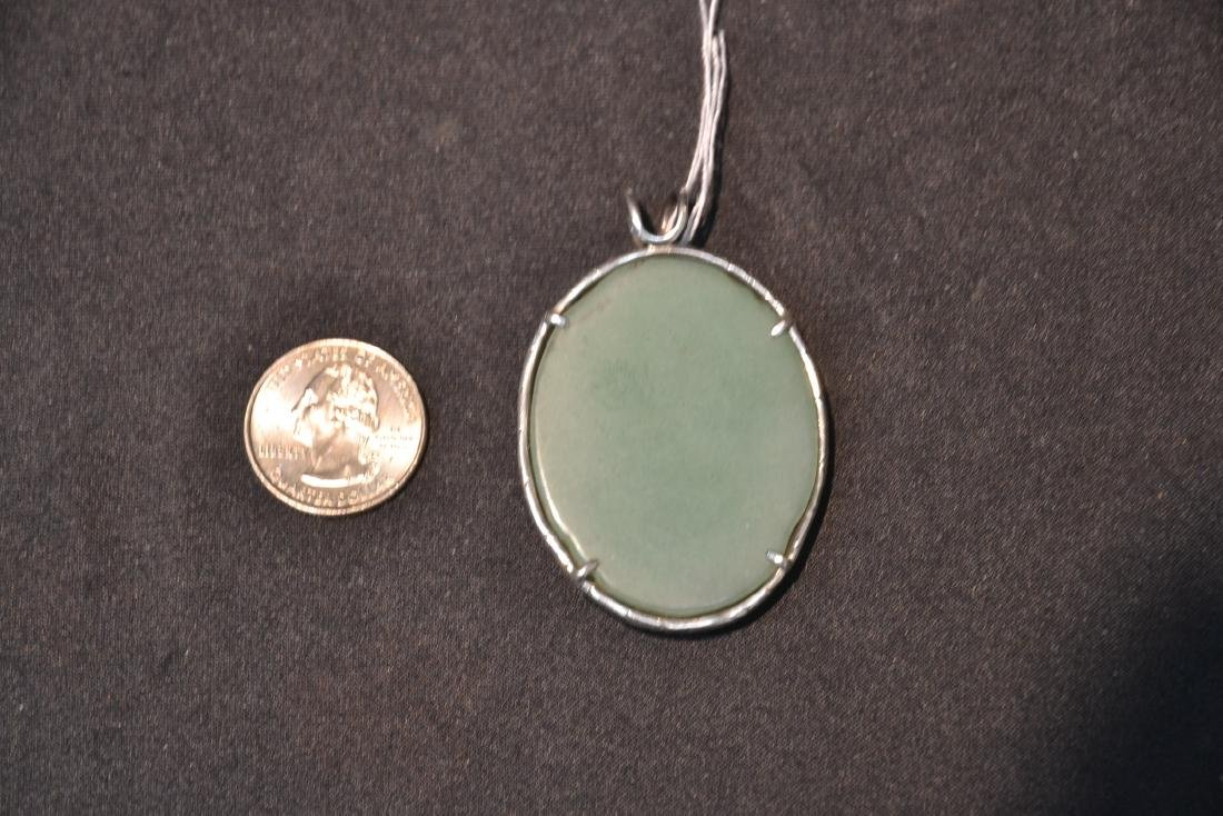 STERLING SILVER & FLORAL JADE PENDANT MOUNTED ON - 5