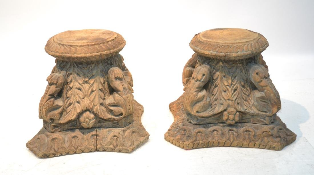 (Pr) ANTIQUE CARVED WOOD STANDS
