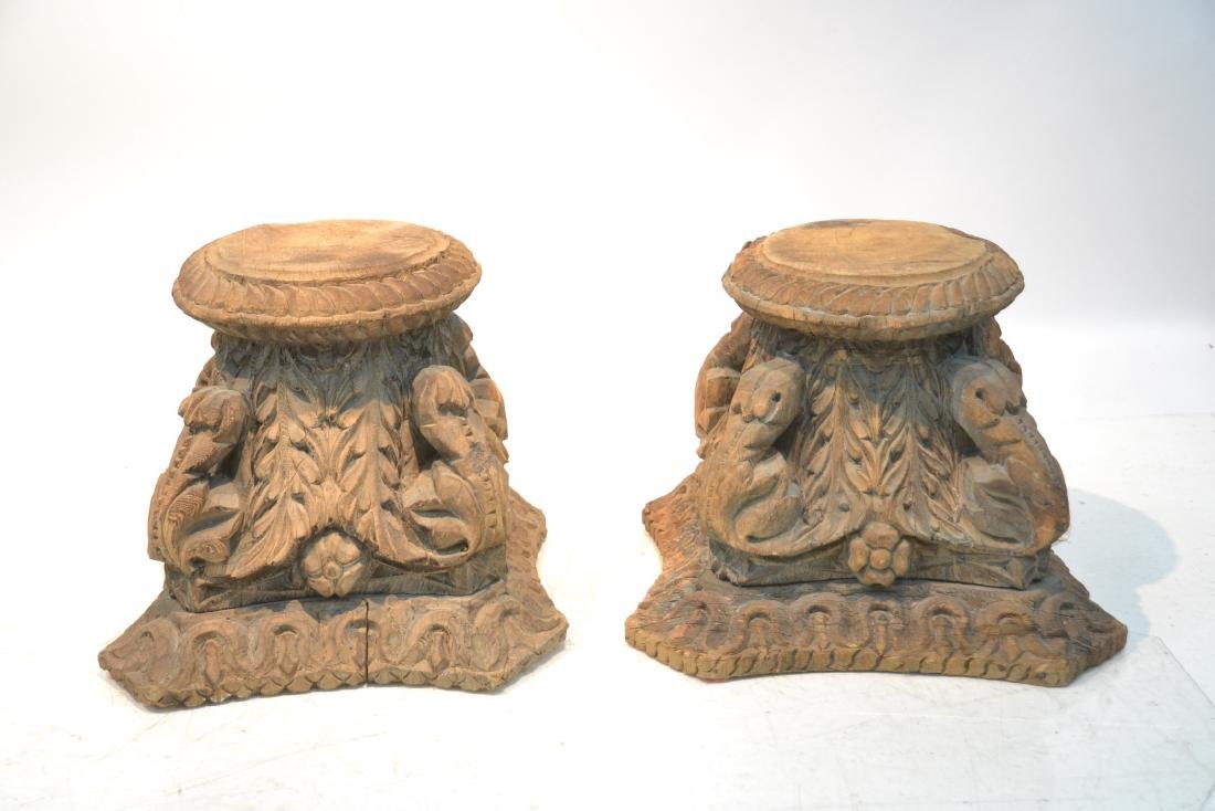 (Pr) ANTIQUE CARVED WOOD STANDS - 2