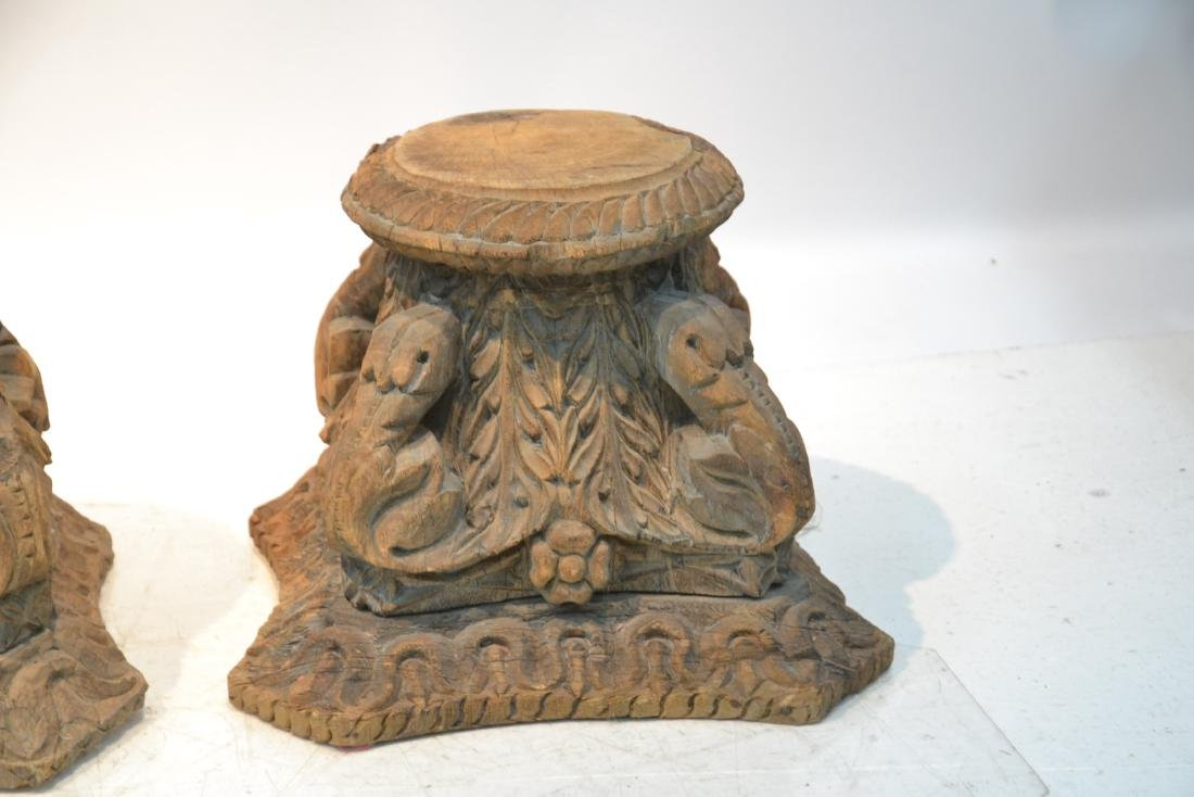 (Pr) ANTIQUE CARVED WOOD STANDS - 3
