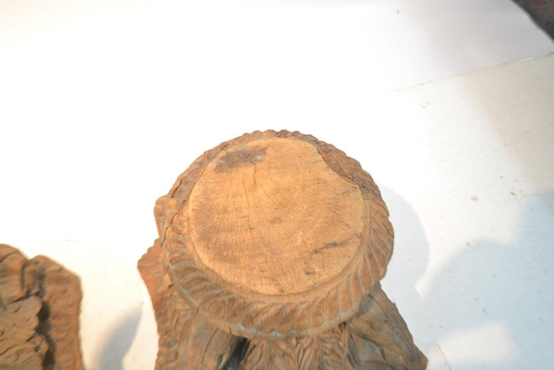 (Pr) ANTIQUE CARVED WOOD STANDS - 5