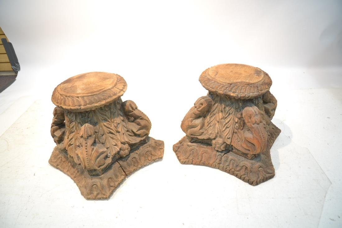 (Pr) ANTIQUE CARVED WOOD STANDS - 7