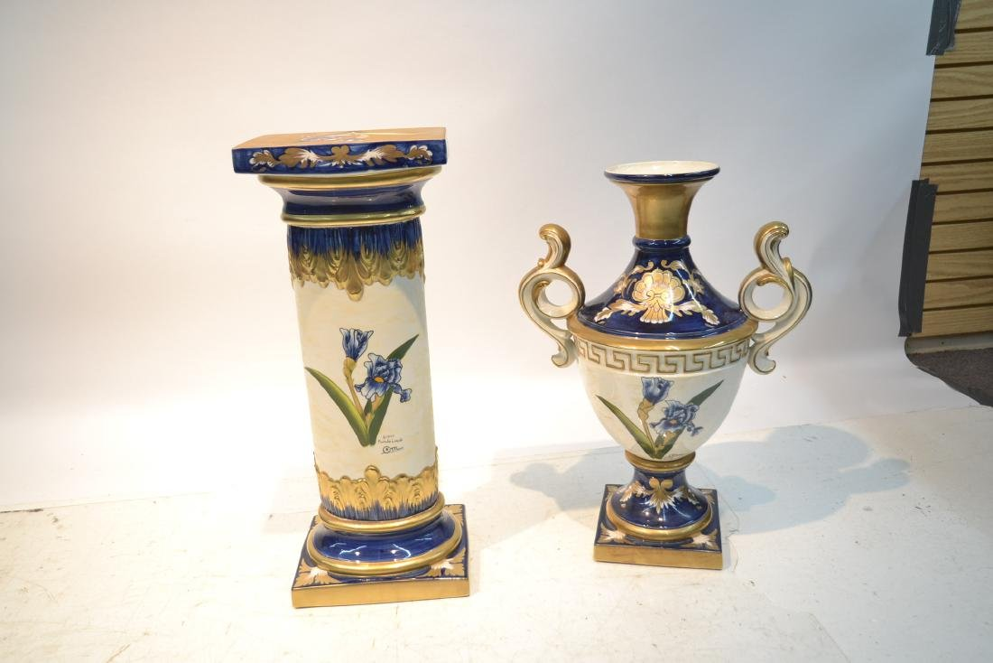 HAND PAINTED PORTUGESE PORCELAIN TWIN HANDLE - 8