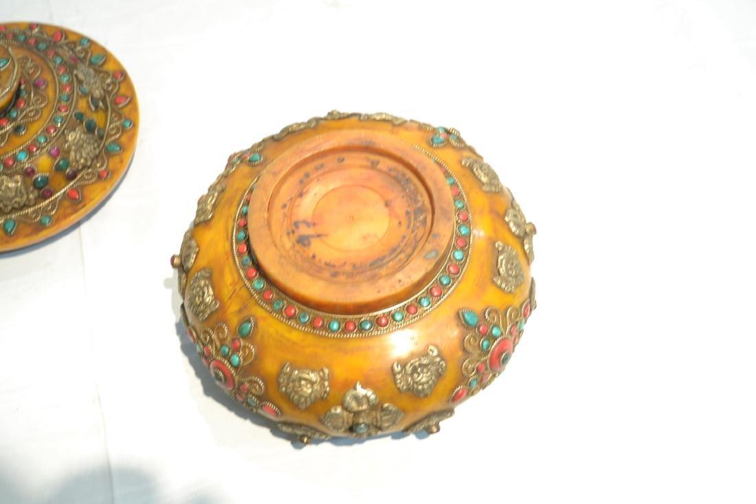 (2) JEWELED TIBETAN SILVER MOUNTED BEESWAX - 8