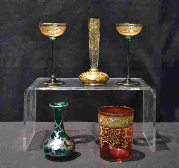 (Pr) GREEN & GOLD CORDIAL GLASSES , SILVER OVERLAY