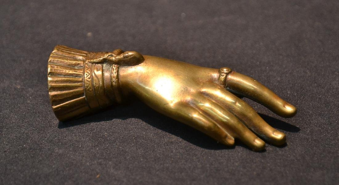 BRONZE RIGHT HAND PAPERWIEGHT WITH RING