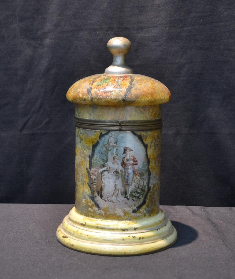 VINTAGE PAINTED GLASS TANTALUS WITH FIGURAL