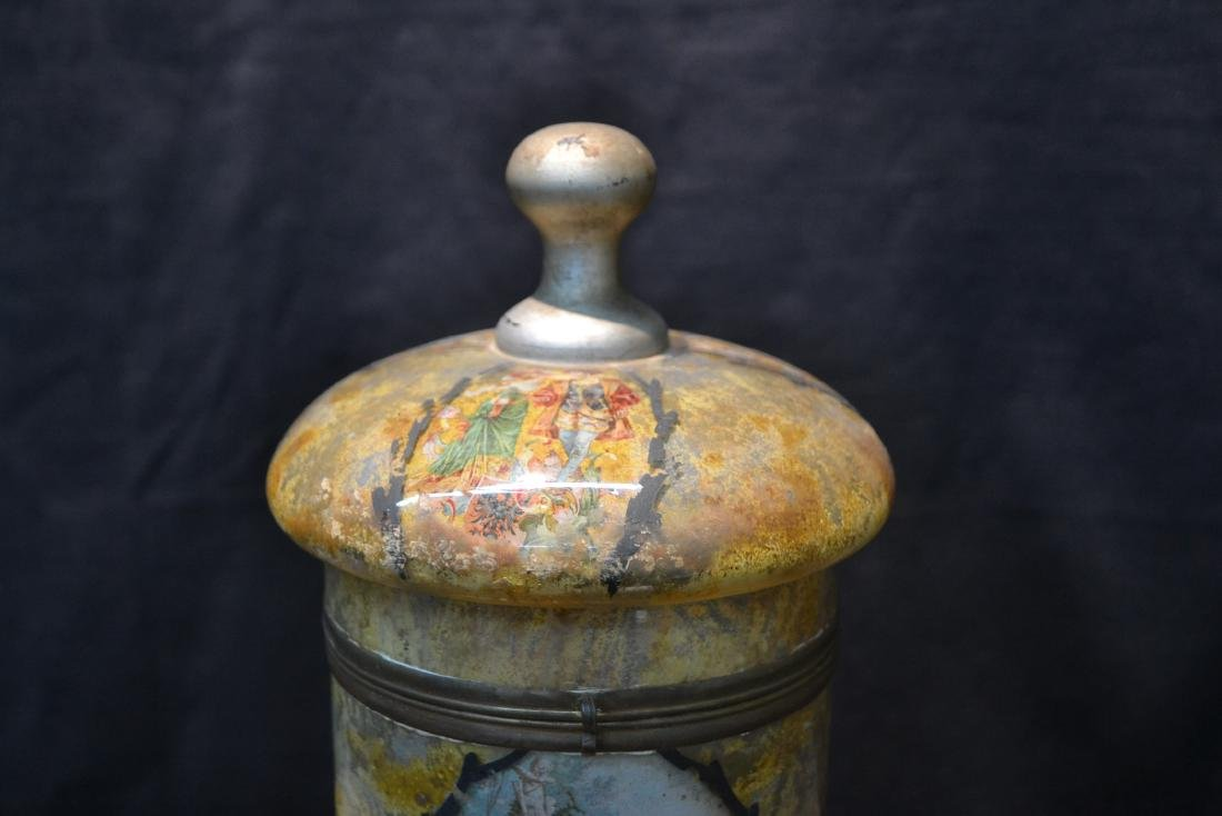 VINTAGE PAINTED GLASS TANTALUS WITH FIGURAL - 3