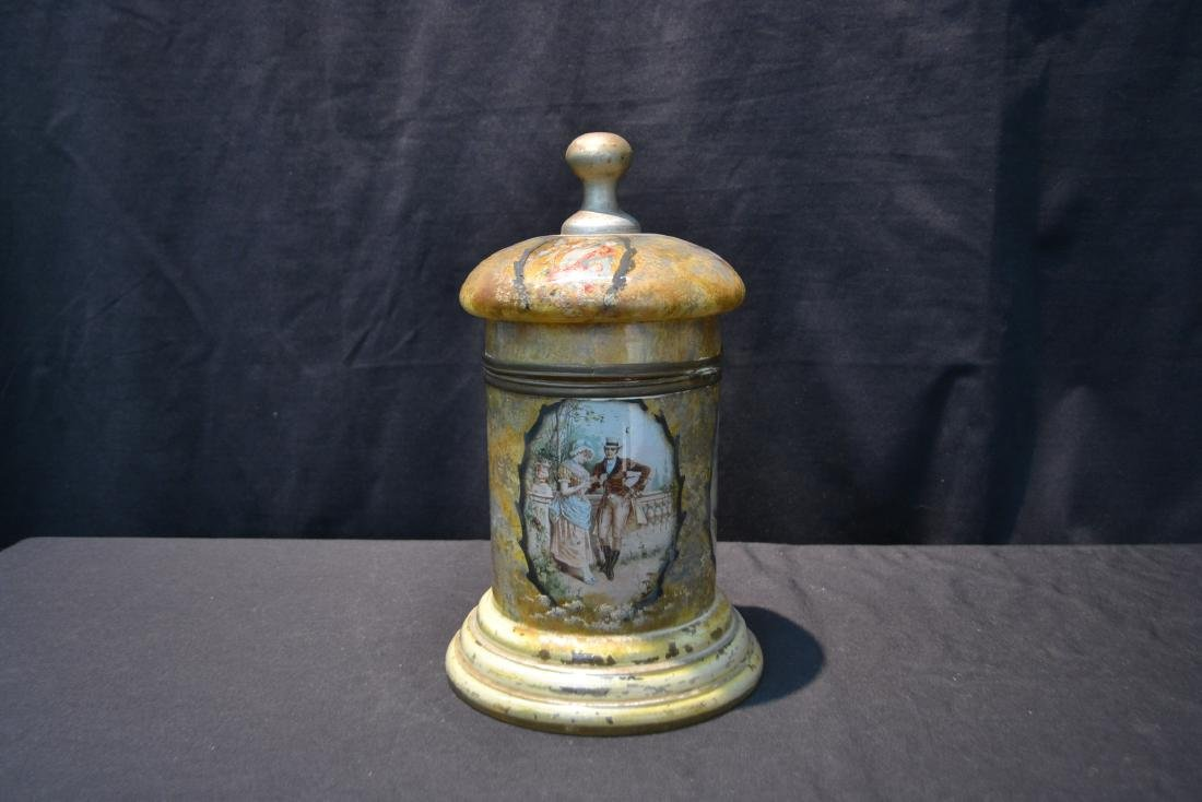 VINTAGE PAINTED GLASS TANTALUS WITH FIGURAL - 5