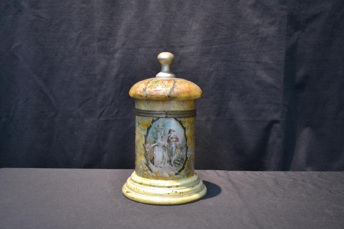 VINTAGE PAINTED GLASS TANTALUS WITH FIGURAL - 9