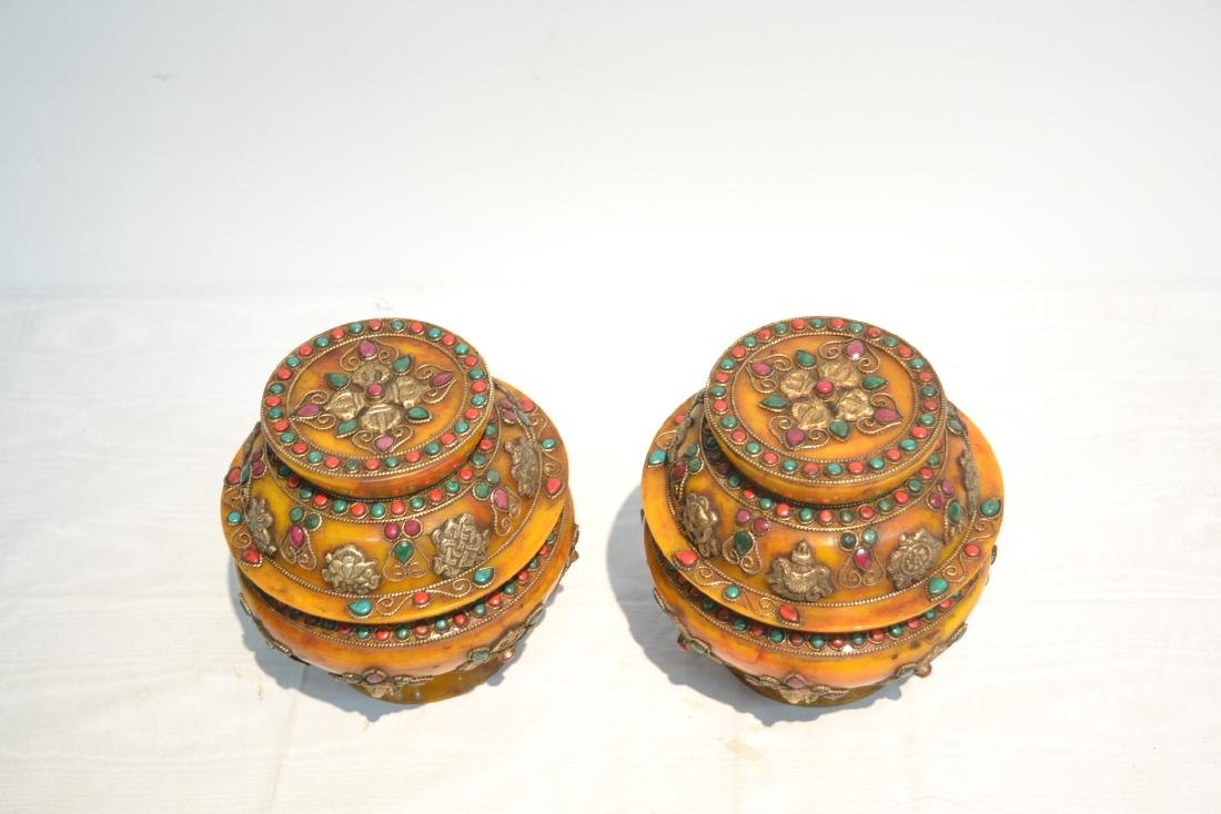 (2) JEWELED TIBETAN SILVER MOUNTED BEESWAX - 4