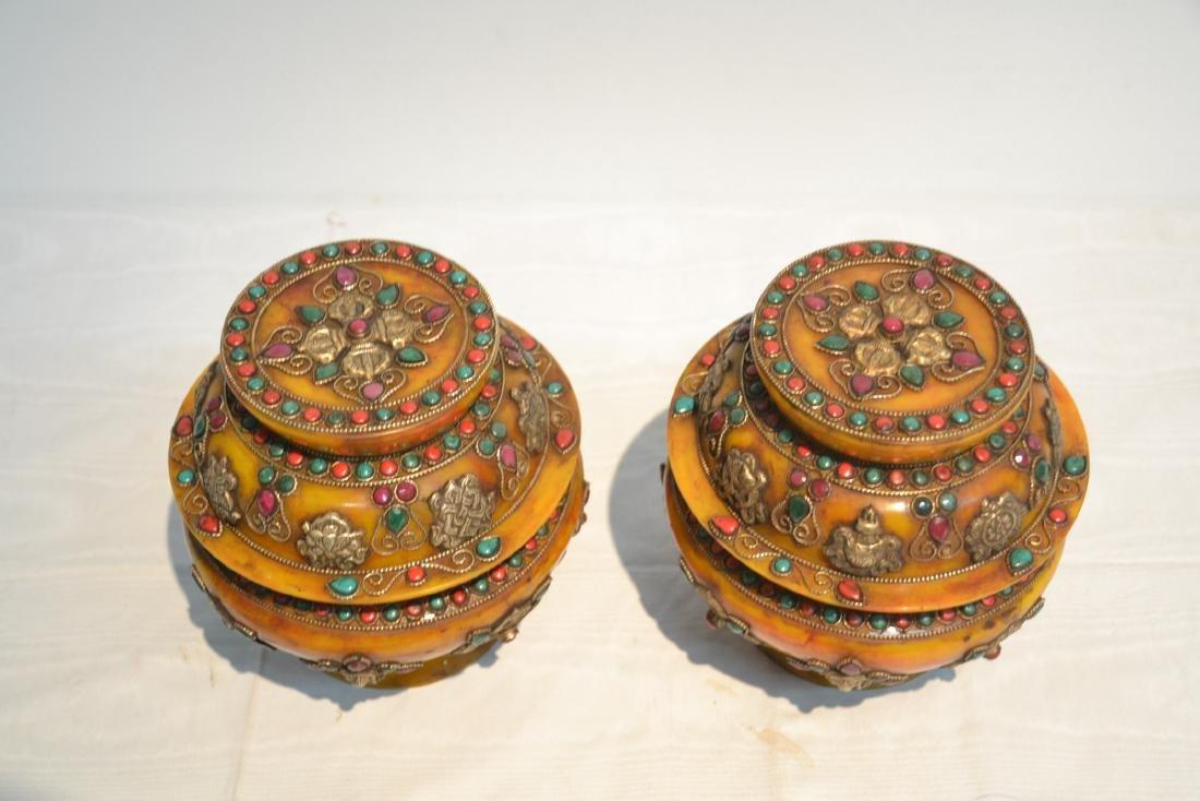 (2) JEWELED TIBETAN SILVER MOUNTED BEESWAX - 5