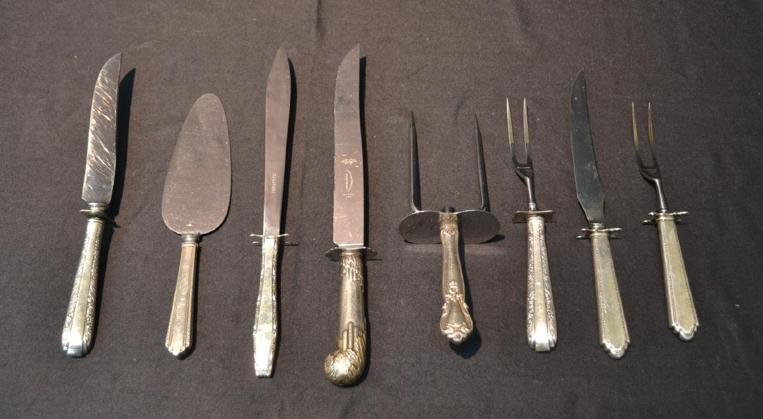 (8) STERLING SILVER HANDLE SERVING KNIVES & FORKS
