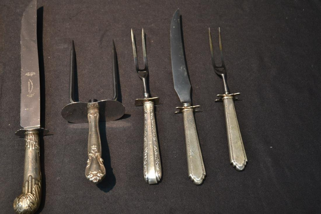 (8) STERLING SILVER HANDLE SERVING KNIVES & FORKS - 2