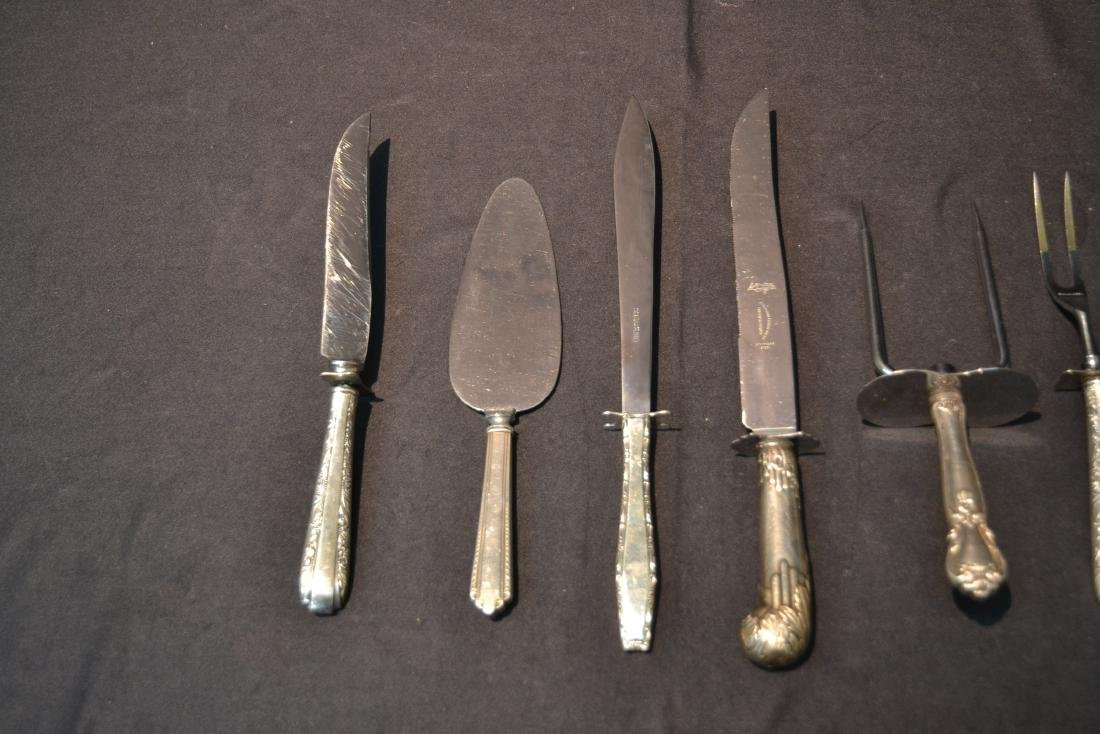 (8) STERLING SILVER HANDLE SERVING KNIVES & FORKS - 3