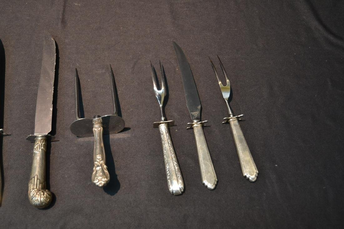 (8) STERLING SILVER HANDLE SERVING KNIVES & FORKS - 4