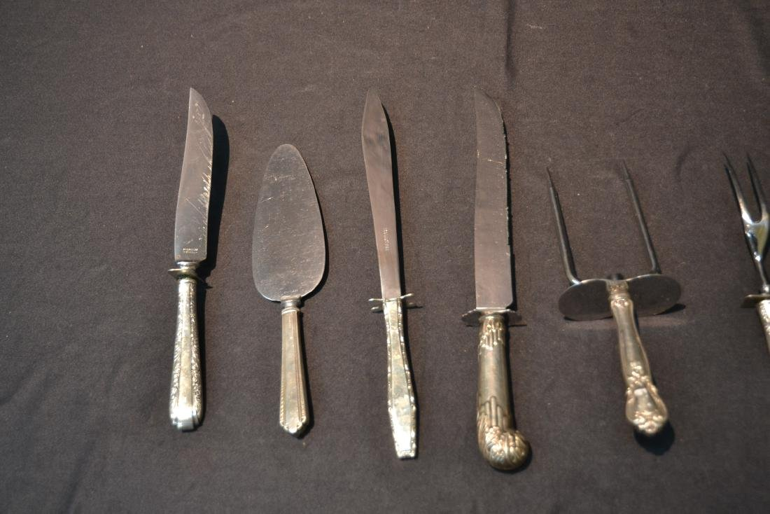 (8) STERLING SILVER HANDLE SERVING KNIVES & FORKS - 5