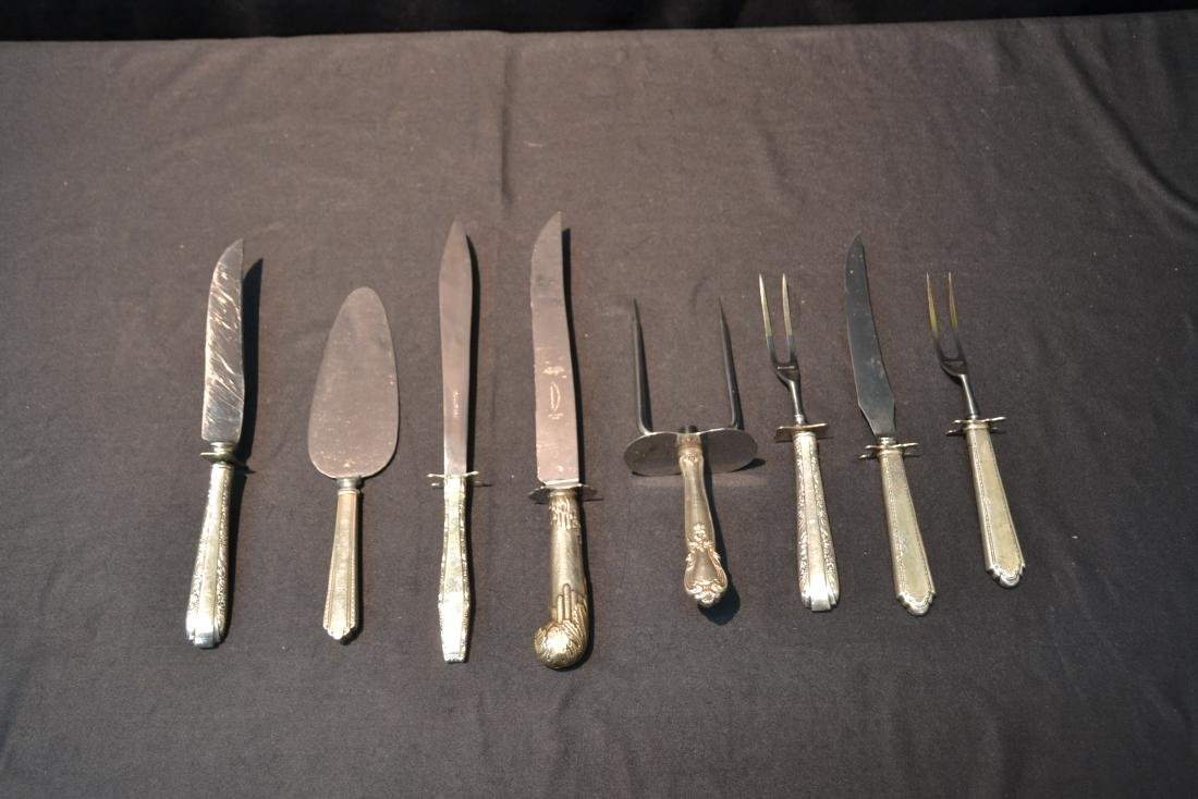(8) STERLING SILVER HANDLE SERVING KNIVES & FORKS - 6