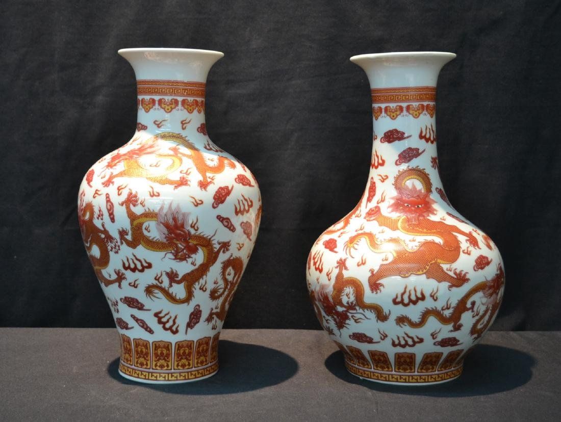 (2) CHINESE PORCELAIN VASES WITH RED DRAGON