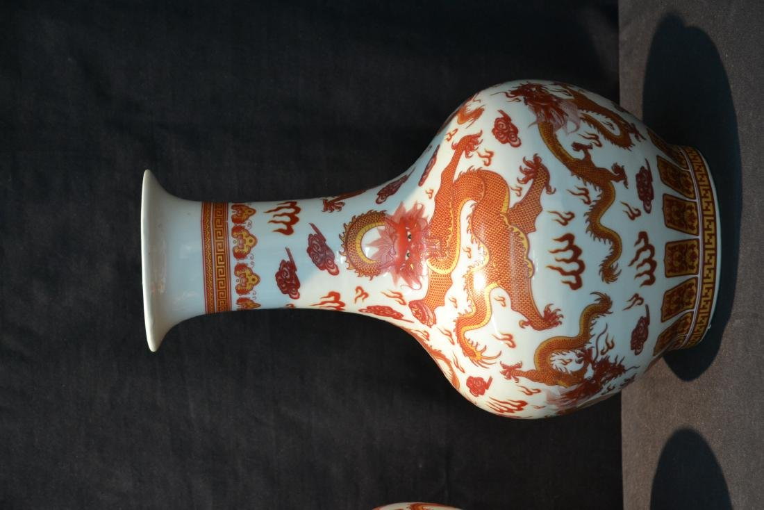 (2) CHINESE PORCELAIN VASES WITH RED DRAGON - 2