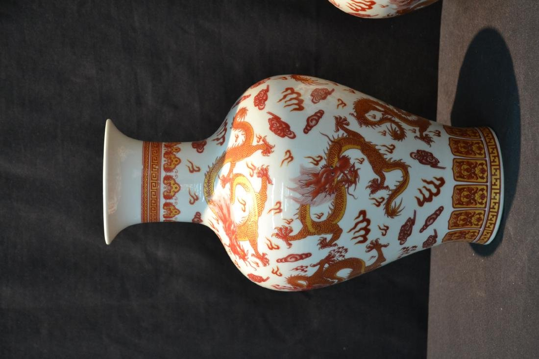 (2) CHINESE PORCELAIN VASES WITH RED DRAGON - 3
