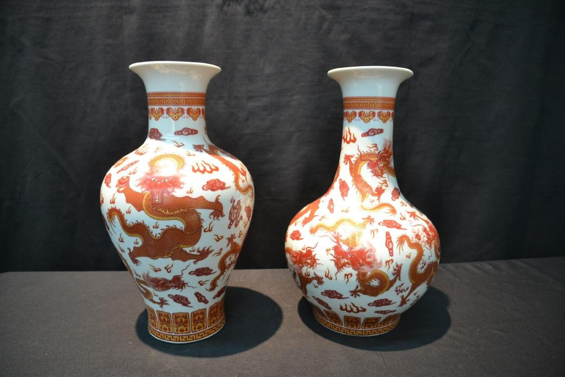 (2) CHINESE PORCELAIN VASES WITH RED DRAGON - 4