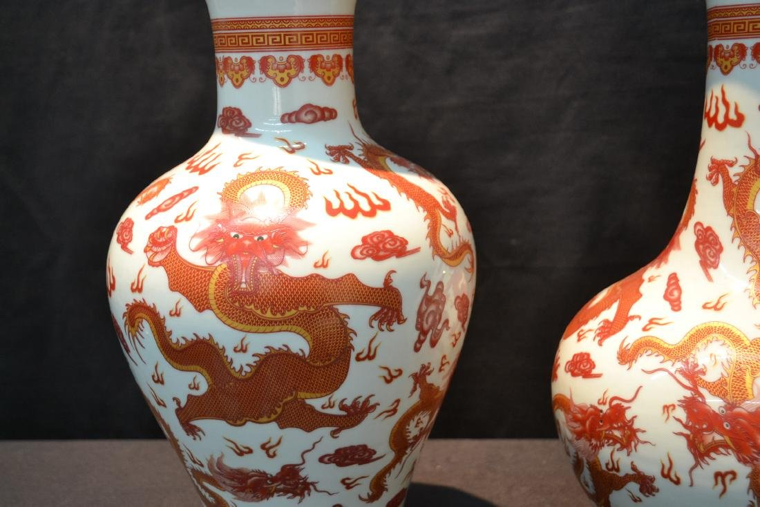 (2) CHINESE PORCELAIN VASES WITH RED DRAGON - 5