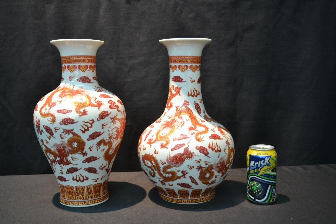 (2) CHINESE PORCELAIN VASES WITH RED DRAGON - 7