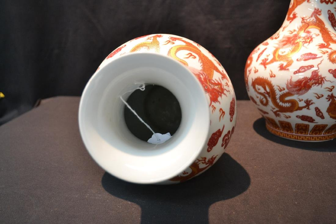 (2) CHINESE PORCELAIN VASES WITH RED DRAGON - 8