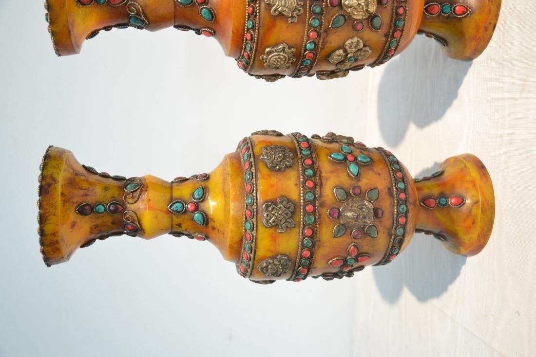 (2) JEWELED TIBETAN SILVER MOUNTED BEESWAX - 4
