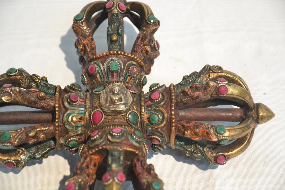 BRONZE JEWELED BUDDHIST CEREMONIAL ORNAMENT - 2