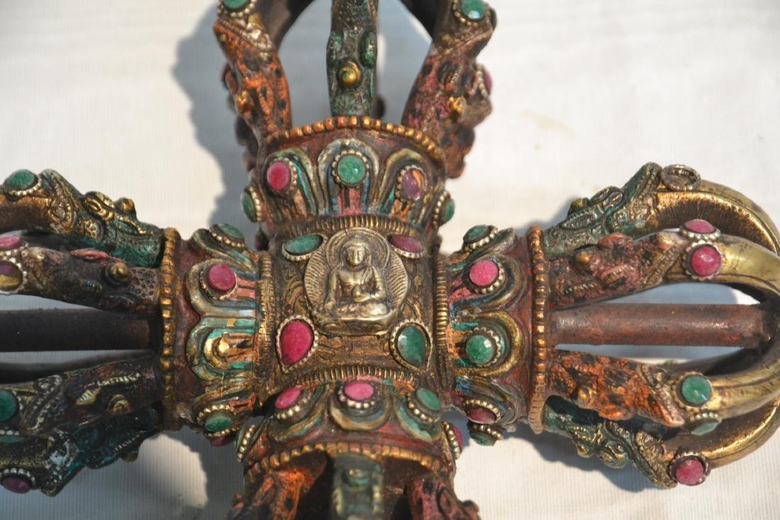 BRONZE JEWELED BUDDHIST CEREMONIAL ORNAMENT - 3