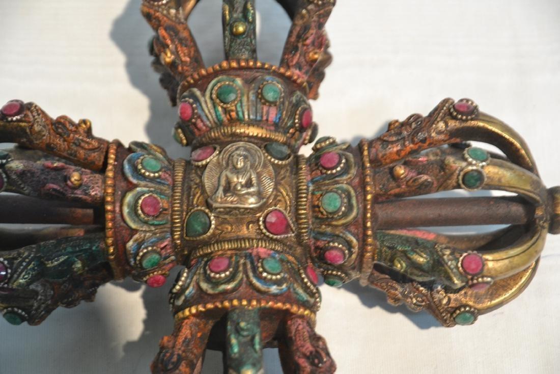 BRONZE JEWELED BUDDHIST CEREMONIAL ORNAMENT - 6