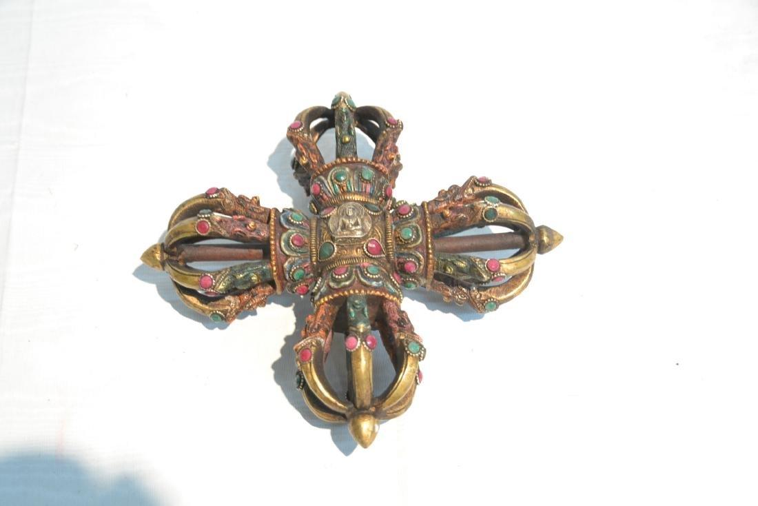 BRONZE JEWELED BUDDHIST CEREMONIAL ORNAMENT - 7