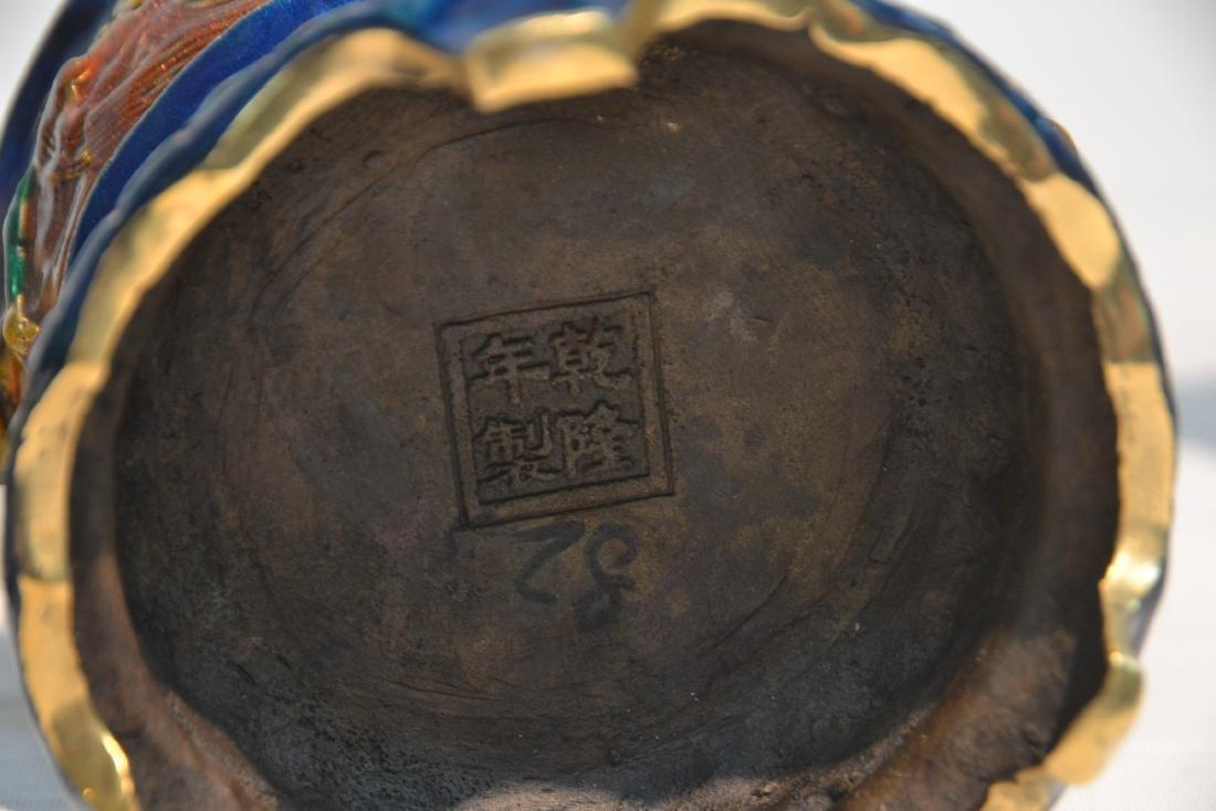 (Pr) ENAMELED BRONZE BUDDHA STANDING BEFORE SHRINE - 10