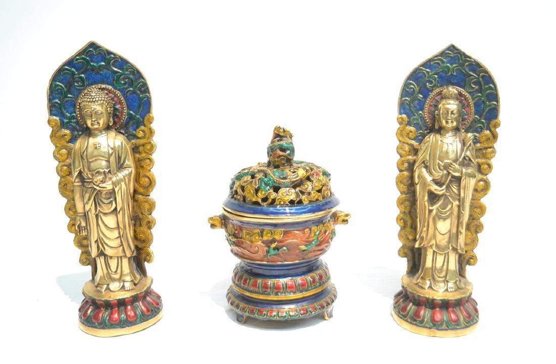 (Pr) ENAMELED BRONZE BUDDHA STANDING BEFORE SHRINE
