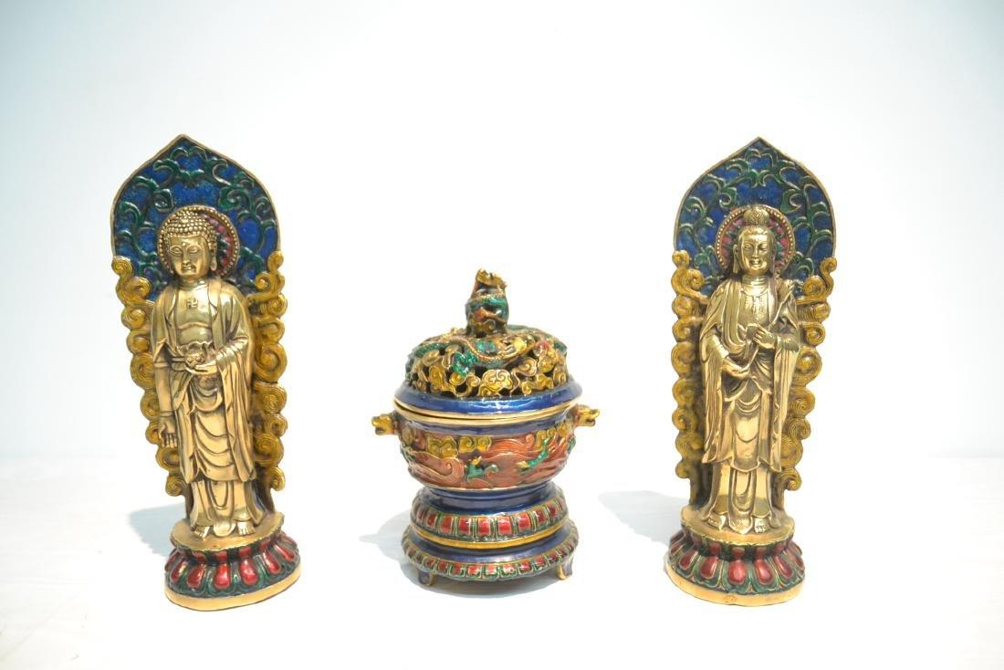 (Pr) ENAMELED BRONZE BUDDHA STANDING BEFORE SHRINE - 2