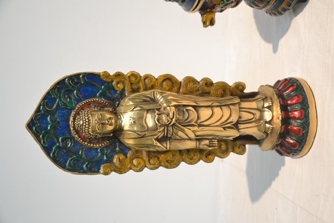 (Pr) ENAMELED BRONZE BUDDHA STANDING BEFORE SHRINE - 3