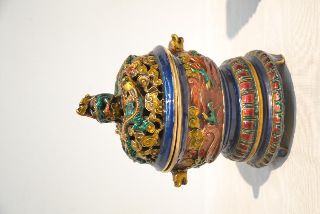 (Pr) ENAMELED BRONZE BUDDHA STANDING BEFORE SHRINE - 6