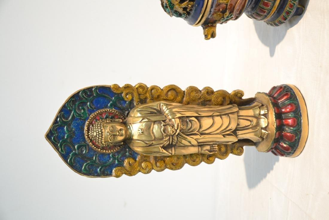 (Pr) ENAMELED BRONZE BUDDHA STANDING BEFORE SHRINE - 7