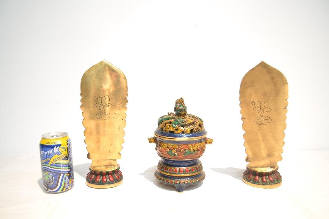 (Pr) ENAMELED BRONZE BUDDHA STANDING BEFORE SHRINE - 8