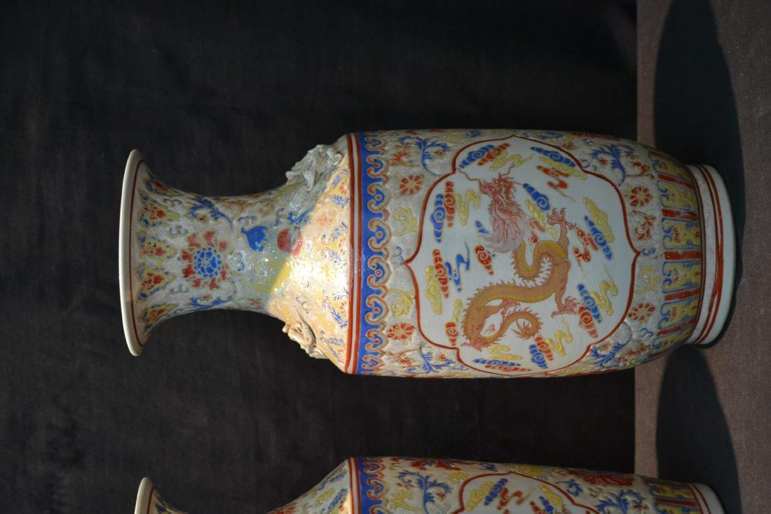 (2) CHINESE PORCELAIN VASES WITH DRAGON - 3