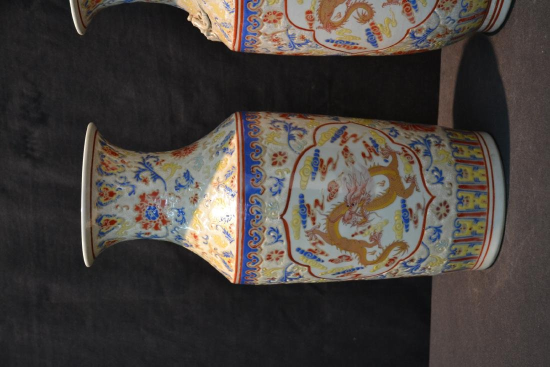 (2) CHINESE PORCELAIN VASES WITH DRAGON - 4